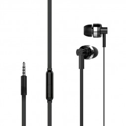 MJ61 Noodles 3.5mm plug Simple Fhashion Earphones with Microphone - Black