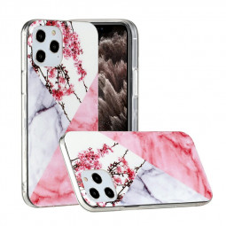 Marble Design Shockproof Soft Silicone Rubber TPU Case for iPhone 12 Pro Max - Plum Blossom