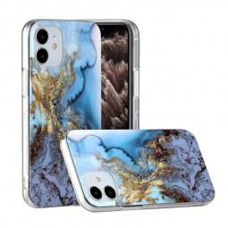 Marble Design Shockproof Soft Silicone Rubber TPU Case for iPhone 12 - Blue