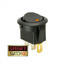 5 pcs ON/OFF Round Rocker Switch LED illuminated Car Dashboard Dash Boat Van 20A 12V - Yellow Light