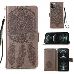 Dreamcatcher Embossed Case Flip Stand Wallet Cover for iPhone 12 Pro Max - Grey