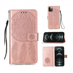 Dreamcatcher Embossed Case Flip Stand Wallet Cover for iPhone 12 Pro - Rose Gold
