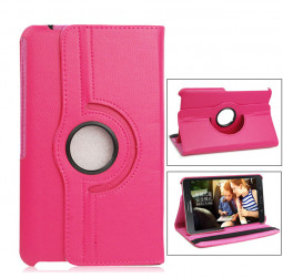 360 Degree Rotating Flip Case for Samsung Galaxy T530 Tab4 10.1 - Hot Pink