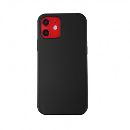 Full Coverage Hard Thin Case Back Cover with Tempered Film for iPhone 12 Mini - Black