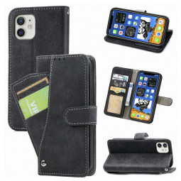 Matte TPU Soft Wallet Case Cover Phone Protective Shell for iPhone 12 Mini - Black