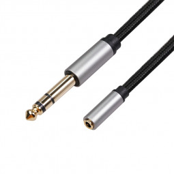 6.35mm 1/4 Male to 3.5mm 1/8 Female Stereo Jack Audio Cable - 0.3M
