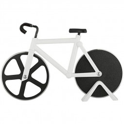 Stainless Steel Bicycle Pizza Cutter Bike Dual Slicer Chopper Home Kitchen - White
