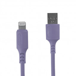 1m Silicone Material Ultra Soft iPhone 8 pin Charging Cable - Purple
