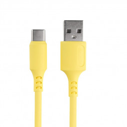 1m Silicone Material Ultra Soft Type C USB 3.1 Charging Cable - Yellow