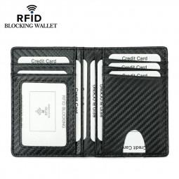 RFID Blocking Carbon Fiber Pattern Super Fiber Card Wallet