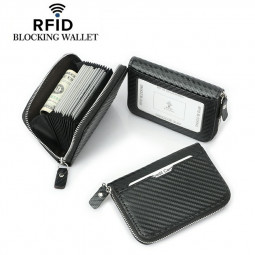 Leather Wallet with Zipper ID Window RFID Blocking Multi-card Slot Short Zipper Coin Purse