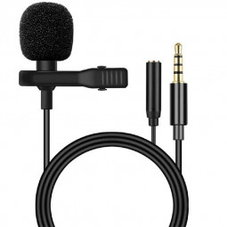 Clip-on Lapel Mini Lavalier Mic Microphone 3.5mm For Mobile Phone PC Recording
