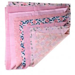 DIY 7PCS Bundles Fabric Fat Quarters Cotton Floral Dress Craft Quilt Sewing 50 x 50cm - Pink