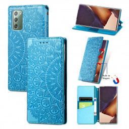 Wallet Card Case Magnetic PU Leather Flip Cover for Samsung Galaxy Note 20 - Blue