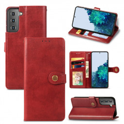PU Leather Magnetic Wallet Card Case Cover for Samsung Galaxy S21 Plus - Red