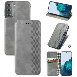Magnetic PU Leather Wallet Case Cover for Samsung Galaxy S21 Plus - Grey