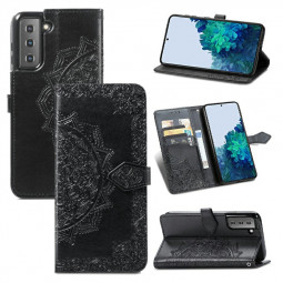 PU Leather Wallet Case Cover Fashion Four-leaf Clover Pattern for Samsung Galaxy S21 - Black