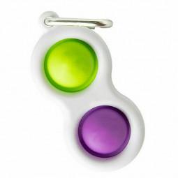 Press Bubble Fun Mini Pressure Relief Silicone Finger Practice Keychain - Green + Purple