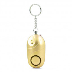 130 db Personal Security Alarm Keychain with LED Lights with Batteries - Gold