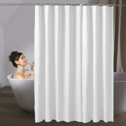 White Fabric Shower Curtain with Weighted Hem and Hooks Rings - 180x220cm
