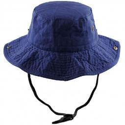 100 Percent Cotton Safari Aussie Outback Bush Wide Brim Summer Sun Hat - Dark Blue