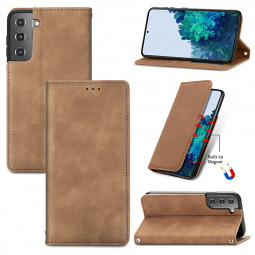 Magnetic PU Leather Wallet Case Cover for Samsung Galaxy S21 Plus - Brown