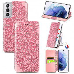 Magnetic PU Leather Wallet Case Cover for Samsung Galaxy S21 - Pink