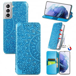 Magnetic PU Leather Wallet Case Cover for Samsung Galaxy S21 Plus - Blue