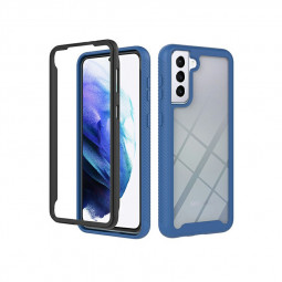 360 Degree Full Body Slim Armor Case with Front Frame for Samsung Galaxy S21 - Blue