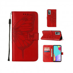 PU Leather Folio Stand Cover Protective Case for Samsung Galaxy A52 4G 5G - Red