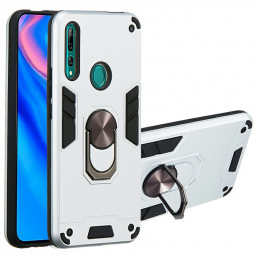Armor Heavy Duty Dual Layer Ring Shockproof Hard Protective Case for Huawei P Smart Z and Y9 Prime (2019) - Silver