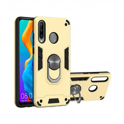 Armor Heavy Duty Dual Layer Ring Shockproof Hard Protective Case for Huawei P30 Lite and Huawei Nova 4E - Gold