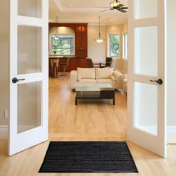 Heavy Duty Hallway Kitchen Door Mats Rubber Barrier Rug 45x75cm Dark Grey - Single Stripe