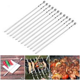 12 pcs Stainless Steel Flat Meat Skewers for BBQ