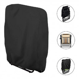 Garden Folding Chair Cover Reclining Sun Lounger Cover Waterproof UV Resistant - Black.