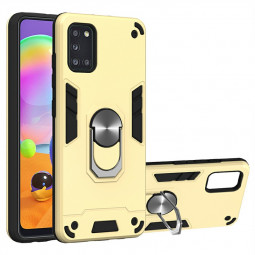 Armor Heavy Duty Dual Layer Ring Back Case for Samsung Galaxy A31 - Gold