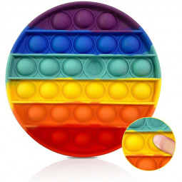 Pop it Fidget a Loud Side and a Quiet Side to Pop Anti Stress Product - Round Rainbow