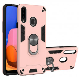 Armor Heavy Duty Dual Layer Ring Shockproof Hard Protective Case for Samsung Galaxy A20S - Rose Gold