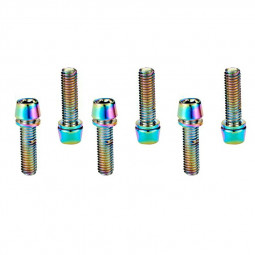 6 pcs Bicycle Stem Bolts M5 x 18mm Stainless Steel Bolt Part for MTB - Multicolor