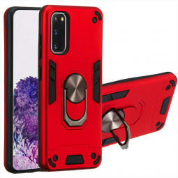 Armor Heavy Duty Dual Layer Ring Hard Protective Case for Samsung Galaxy S20 - Red