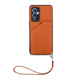 PU Leather Folio Stand Cover Protective Case for OnePlus 9 - Brown