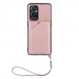 PU Leather Folio Stand Cover Protective Case for OnePlus 9 Pro - Rose Gold