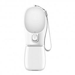 350ml Portable Dog Water Bottle Outdoor Travel Drinking Bowl Dispenser - White