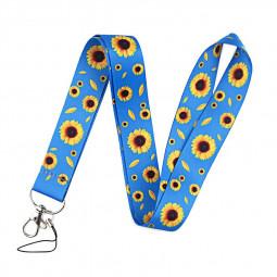 Printed Lanyard Neck Strap for Card Phone Key - Blue