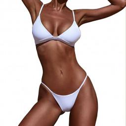 High Waited Bikini Sets Triangle Top Thong Bottom 2 Piece Swimsuit for Women M - White