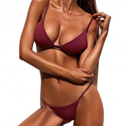 High Waited Bikini Sets Triangle Top Thong Bottom 2 Piece Swimsuit for Women XL - Wine Red