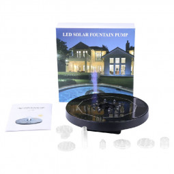 LED Light Solar Powered Fountain Floating Bird Bath Water Pump Garden Pond Decor