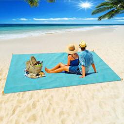 Waterproof Magic Sand Free Beach Mat 150 x 200cm Sand Blanket Mat for Picnic Camping - Blue