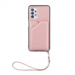 PU Leather Folio Stand Cover Case for Samsung Galaxy A32 5G - Rose Gold