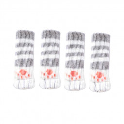 4 pcs Cat Paw Knitted Table and Chair Foot Leg Sleeve - Grey
